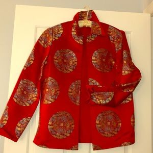 Jackets & Blazers - Asian inspired Red Satin Evening Jacket